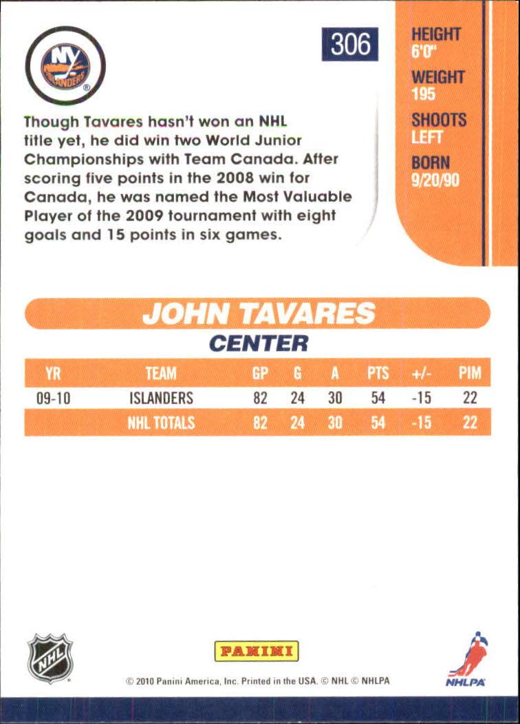 2010-11 Score Glossy #306 John Tavares back image