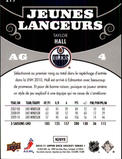 2010-11 Upper Deck French #219 Taylor Hall YG RC back image