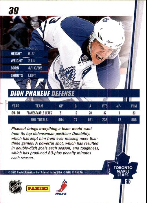 2010-11 Donruss #39 Dion Phaneuf back image