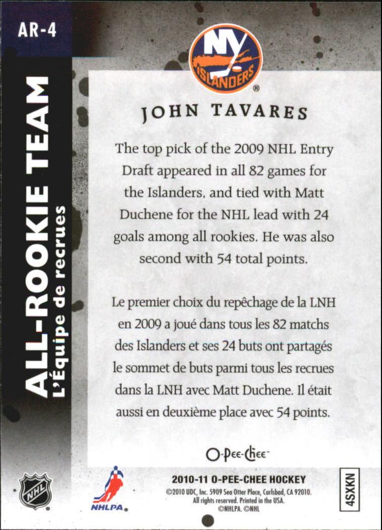 2010-11 O-Pee-Chee All Rookie Team #AR4 John Tavares back image