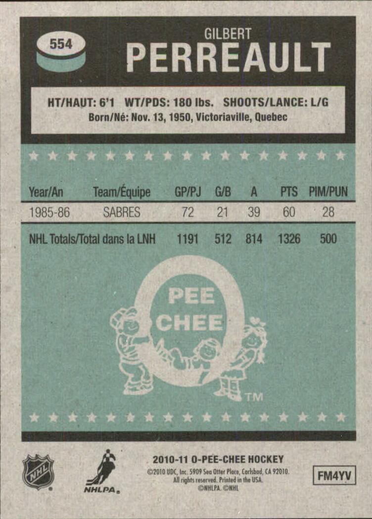 2010-11 O-Pee-Chee Retro #554 Gilbert Perreault L back image