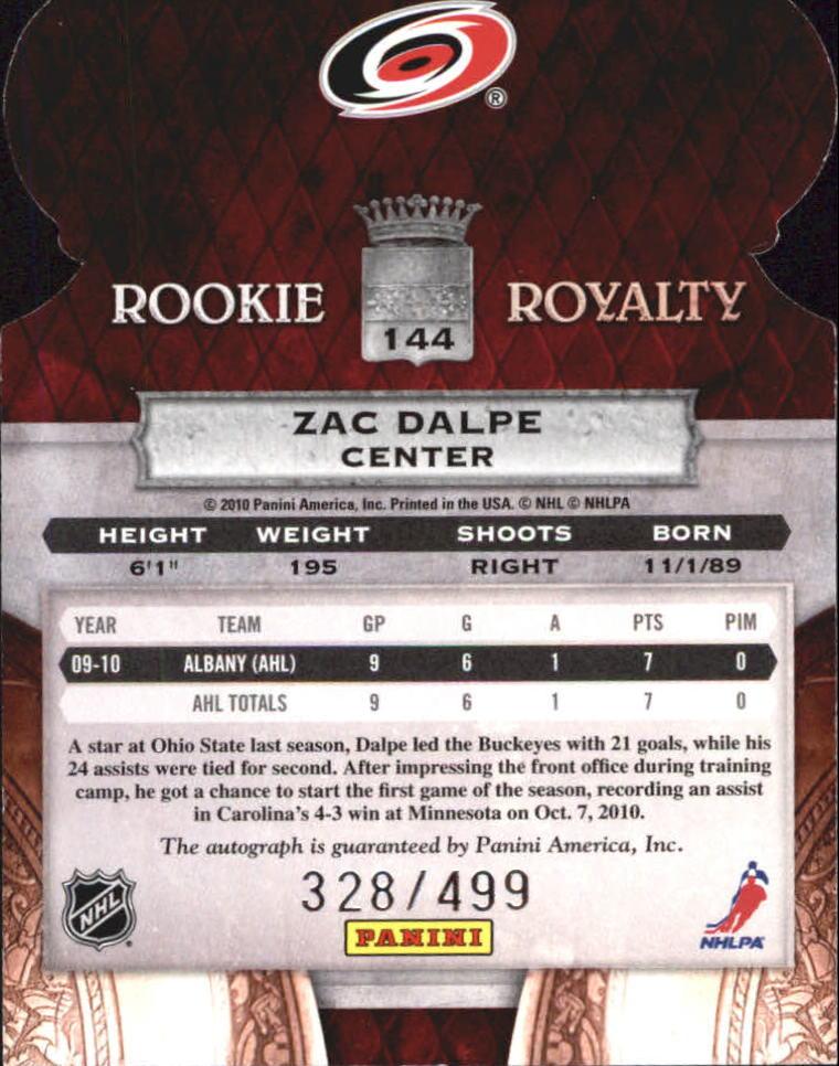 2010-11 Crown Royale #144 Zac Dalpe AU RC back image
