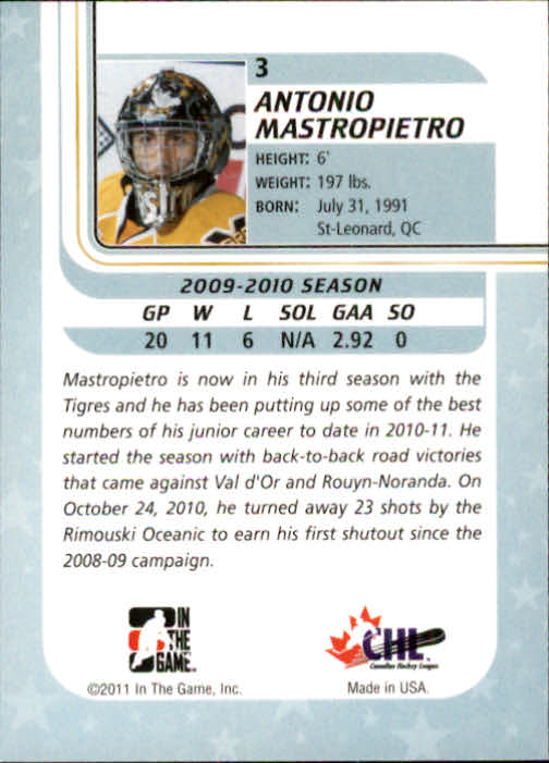 2010-11 Between The Pipes #3 Antonio Mastropietro back image