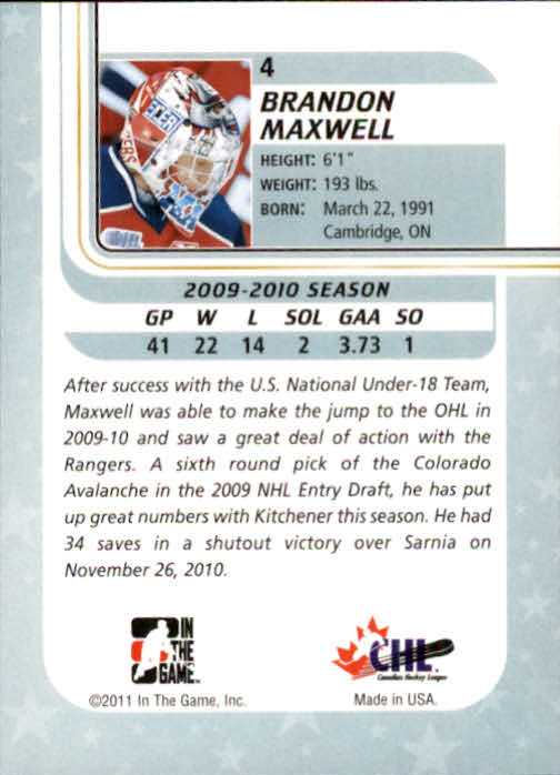 2010-11 Between The Pipes #4 Brandon Maxwell back image