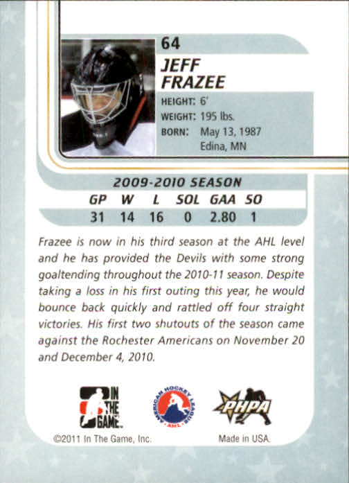 2010-11 Between The Pipes #64 Jeff Frazee back image