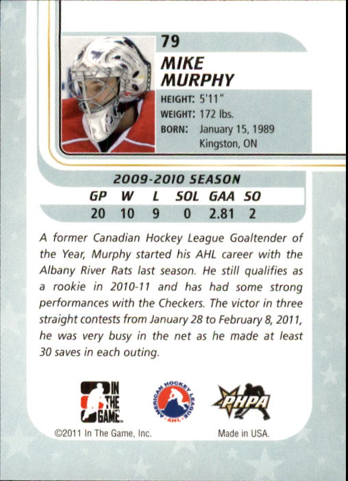 2010-11 Between The Pipes #79 Mike Murphy back image