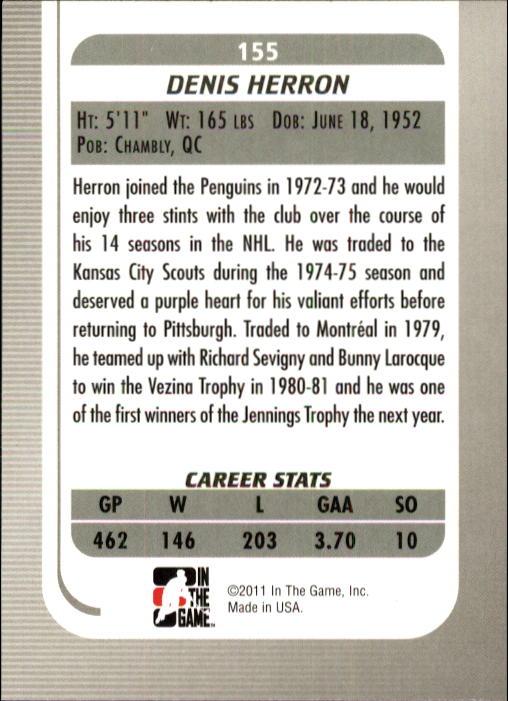 2010-11 Between The Pipes #155 Denis Herron back image