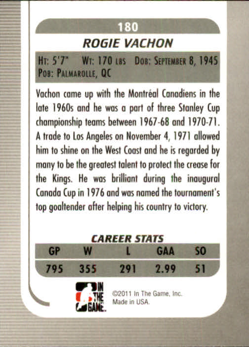2010-11 Between The Pipes #180 Rogie Vachon back image