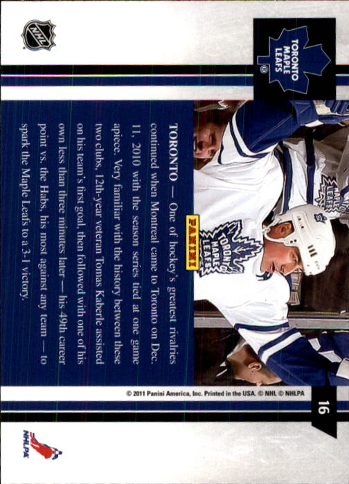 2010-11 Pinnacle #16 Tomas Kaberle back image