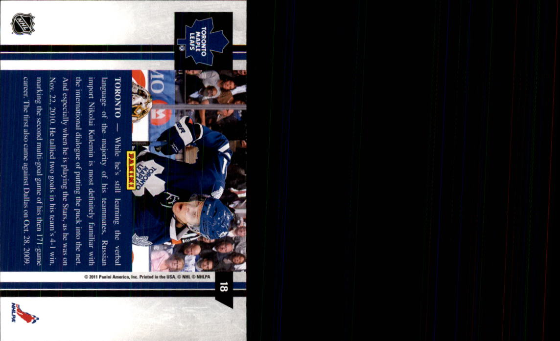 2010-11 Pinnacle #18 Nikolai Kulemin back image