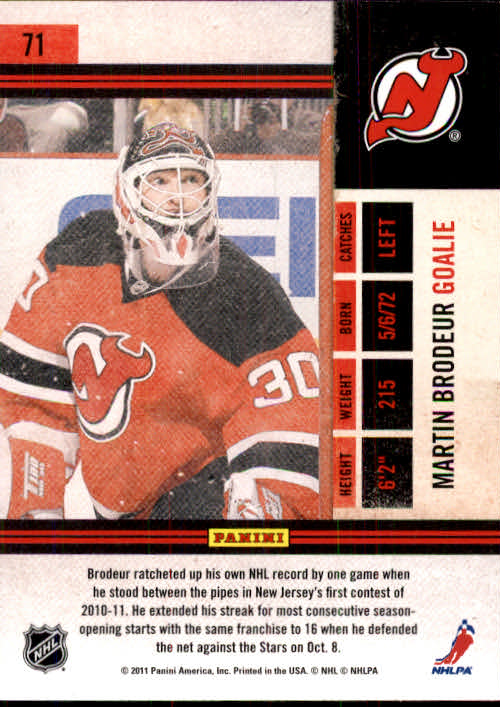 2010-11 Playoff Contenders #71 Martin Brodeur back image