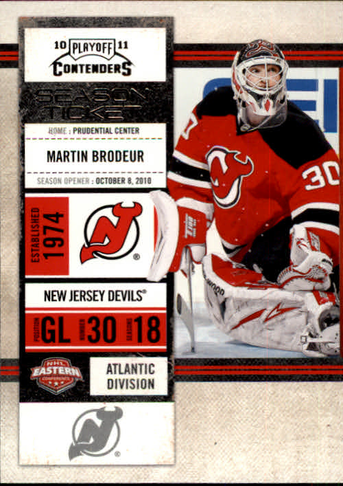 2010-11 Playoff Contenders #71 Martin Brodeur