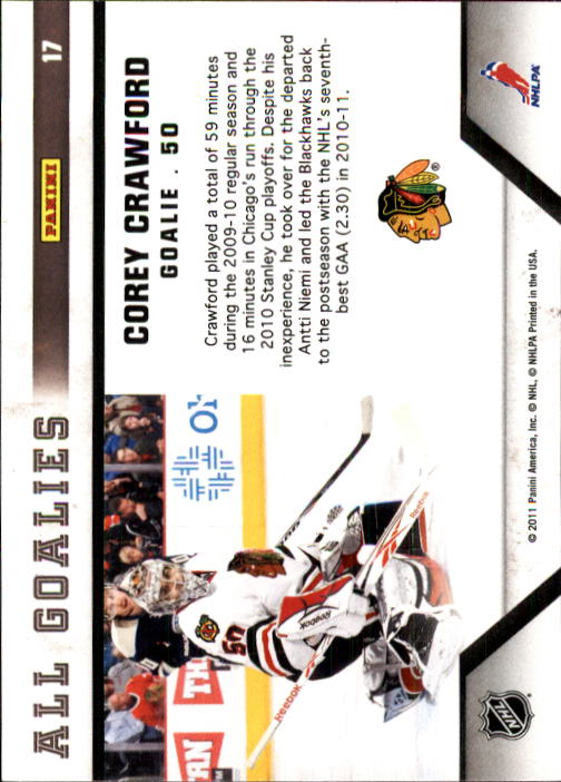 2010-11 Panini All Goalies #17 Corey Crawford back image