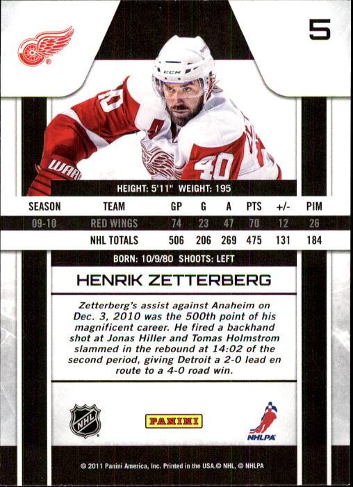 2010-11 Zenith #5 Henrik Zetterberg back image