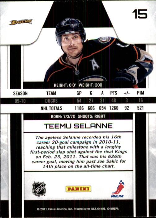 2010-11 Zenith #15 Teemu Selanne back image