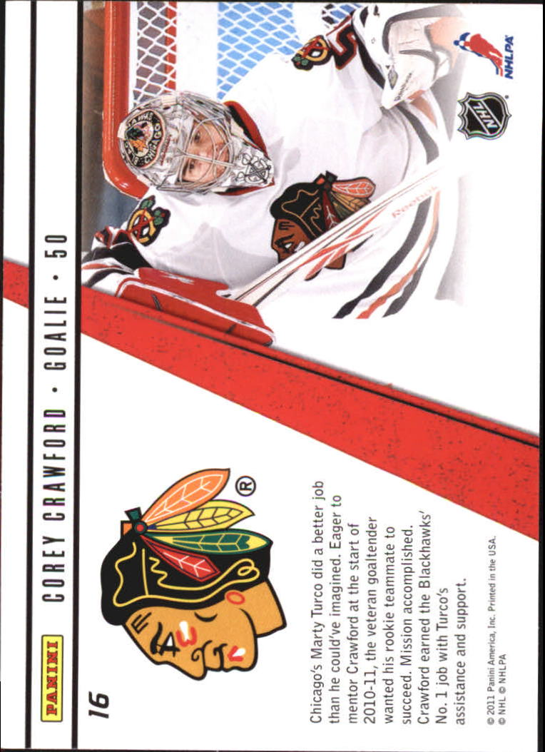 2010-11 Zenith Rookie Roll Call #16 Corey Crawford back image
