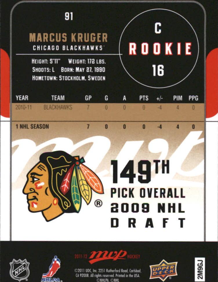 2011-12 Upper Deck MVP #91 Marcus Kruger RC back image