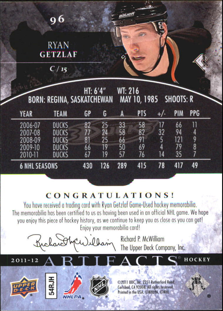 2011-12 Artifacts Jerseys #96 Ryan Getzlaf back image