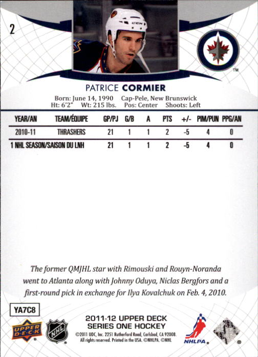 2011-12 Upper Deck #2 Patrice Cormier back image