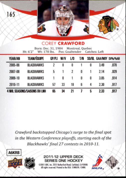 2011-12 Upper Deck #165 Corey Crawford back image