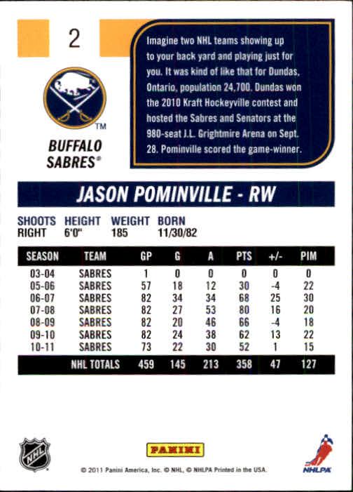 2011-12 Score #2 Jason Pominville SH back image