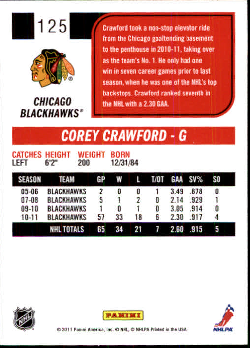 2011-12 Score #125 Corey Crawford back image