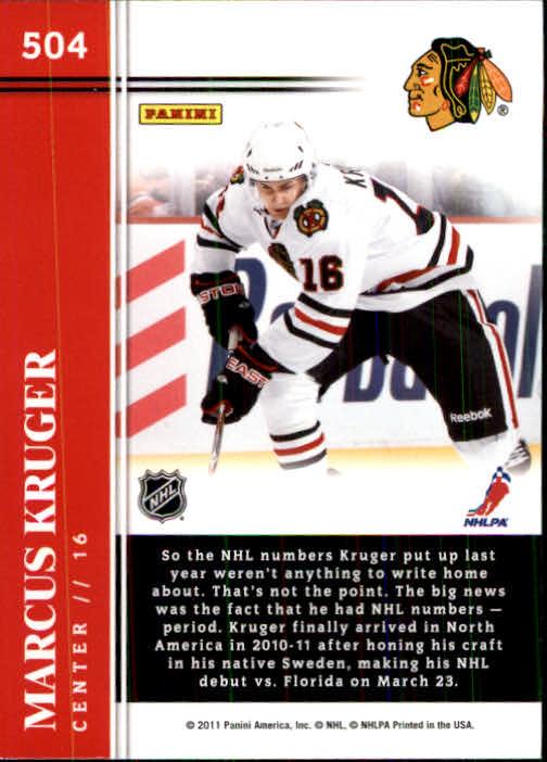 2011-12 Score #504 Marcus Kruger HR RC back image
