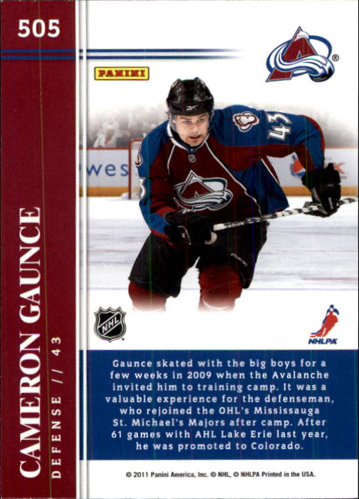 2011-12 Score #505 Cameron Gaunce HR RC back image
