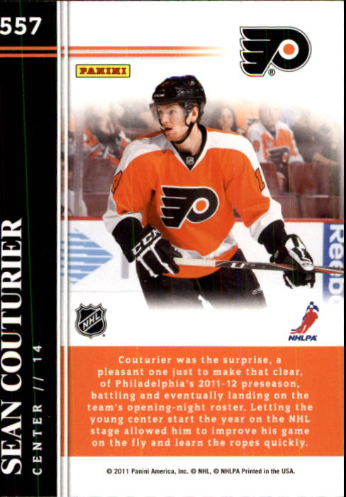 2011-12 Score #557 Sean Couturier HR SP RC back image