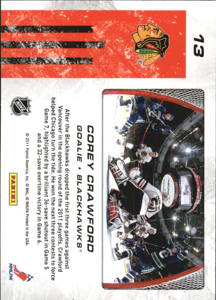 2011-12 Score Net Cam #13 Corey Crawford back image