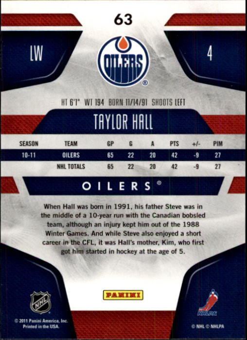 2011-12 Certified #63 Taylor Hall back image