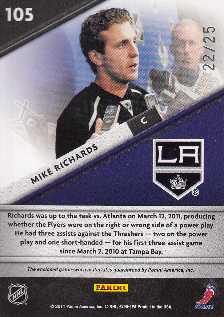 2011-12 Certified Fabric of the Game NHL Die Cut #105 Mike Richards back image