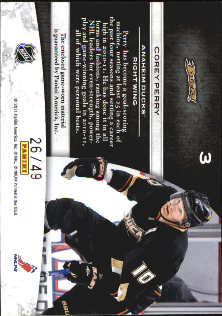 2011-12 Limited Jumbo Materials Jersey Numbers #3 Corey Perry/49 back image