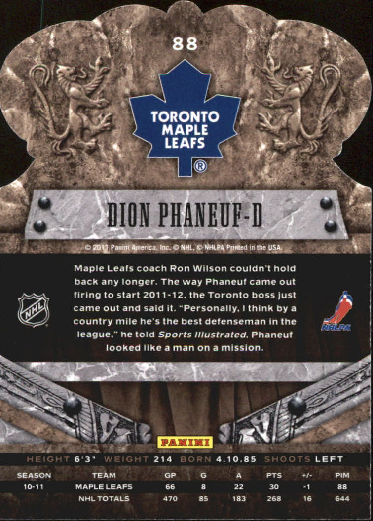 2011-12 Crown Royale #88 Dion Phaneuf back image