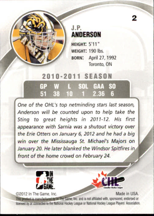 2011-12 Between The Pipes #2 J.P. Anderson back image