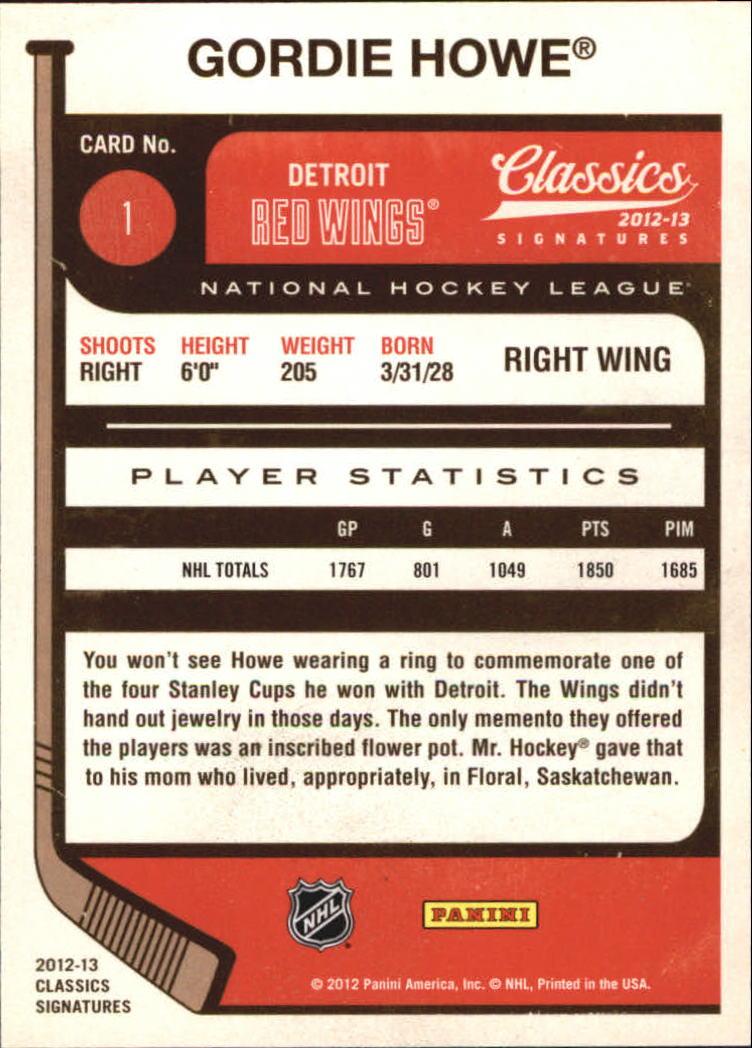2012-13 Classics Signatures #1 Gordie Howe back image