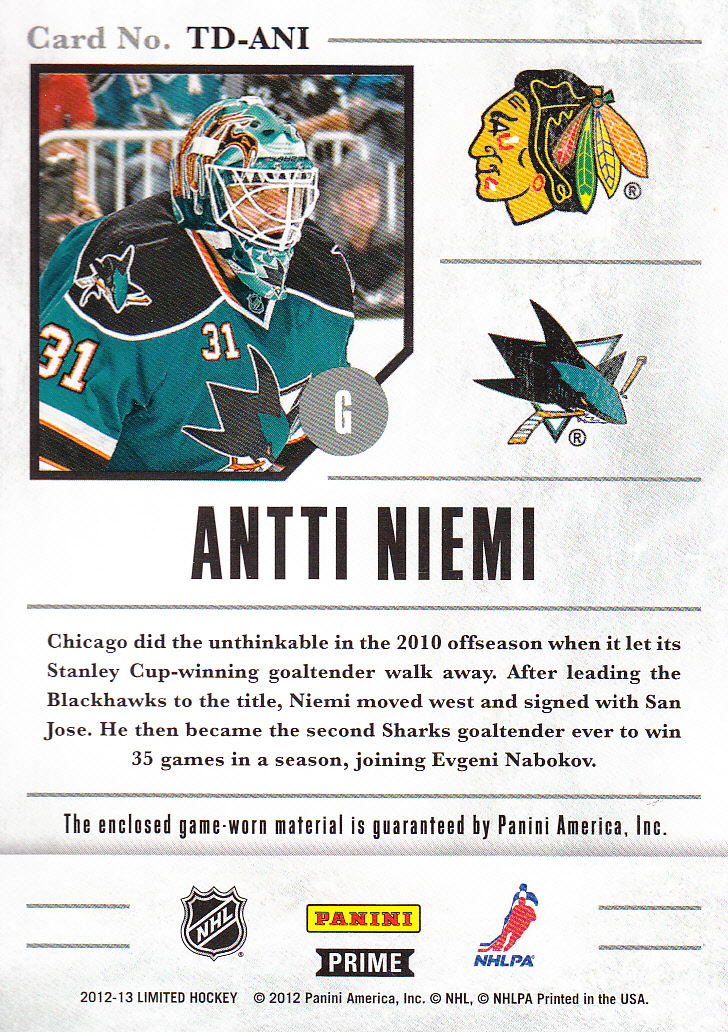 2012-13 Limited Travels Dual Jerseys Prime #TDAN Antti Niemi back image