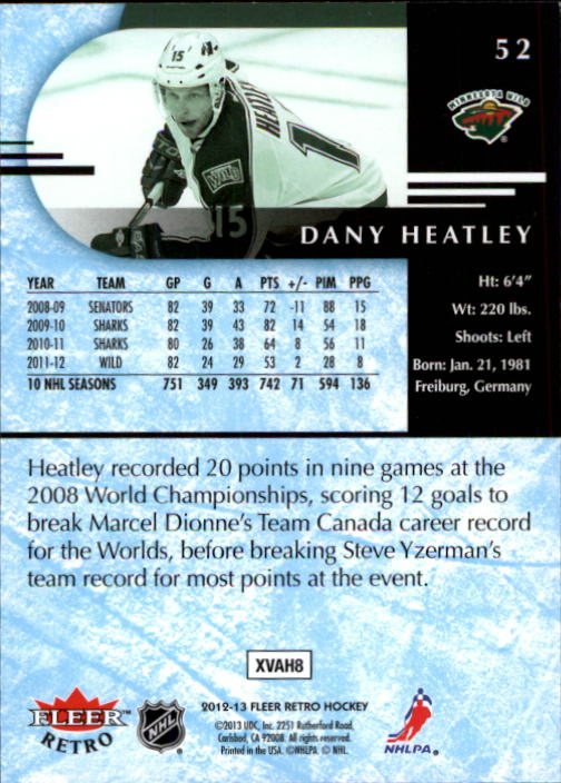 2012-13 Fleer Retro #52 Dany Heatley back image