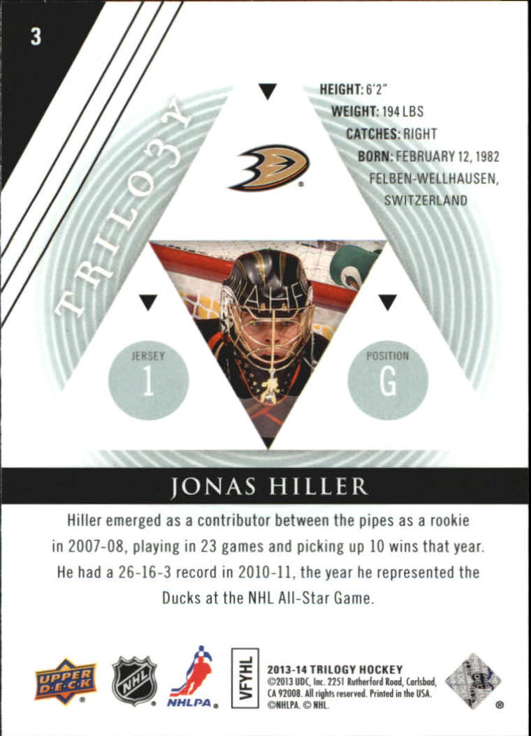 2013-14 Upper Deck Trilogy #3 Jonas Hiller back image