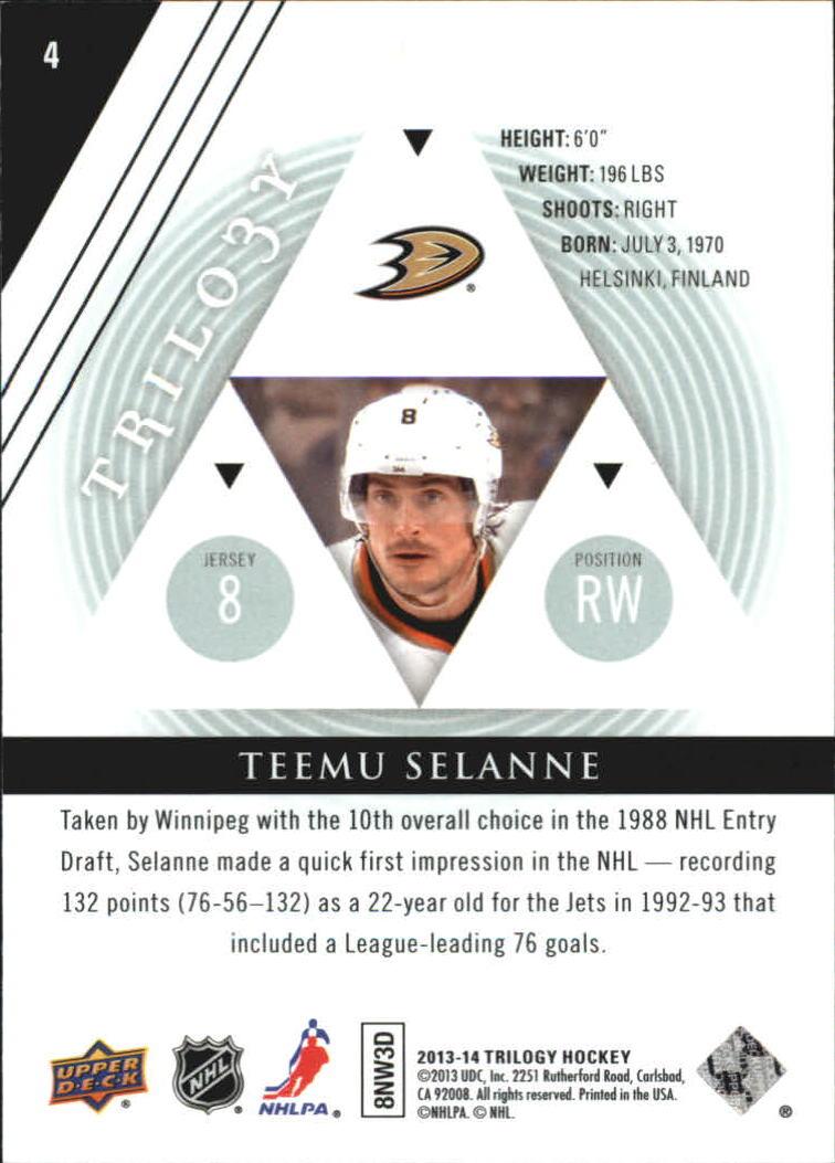 2013-14 Upper Deck Trilogy #4 Teemu Selanne back image