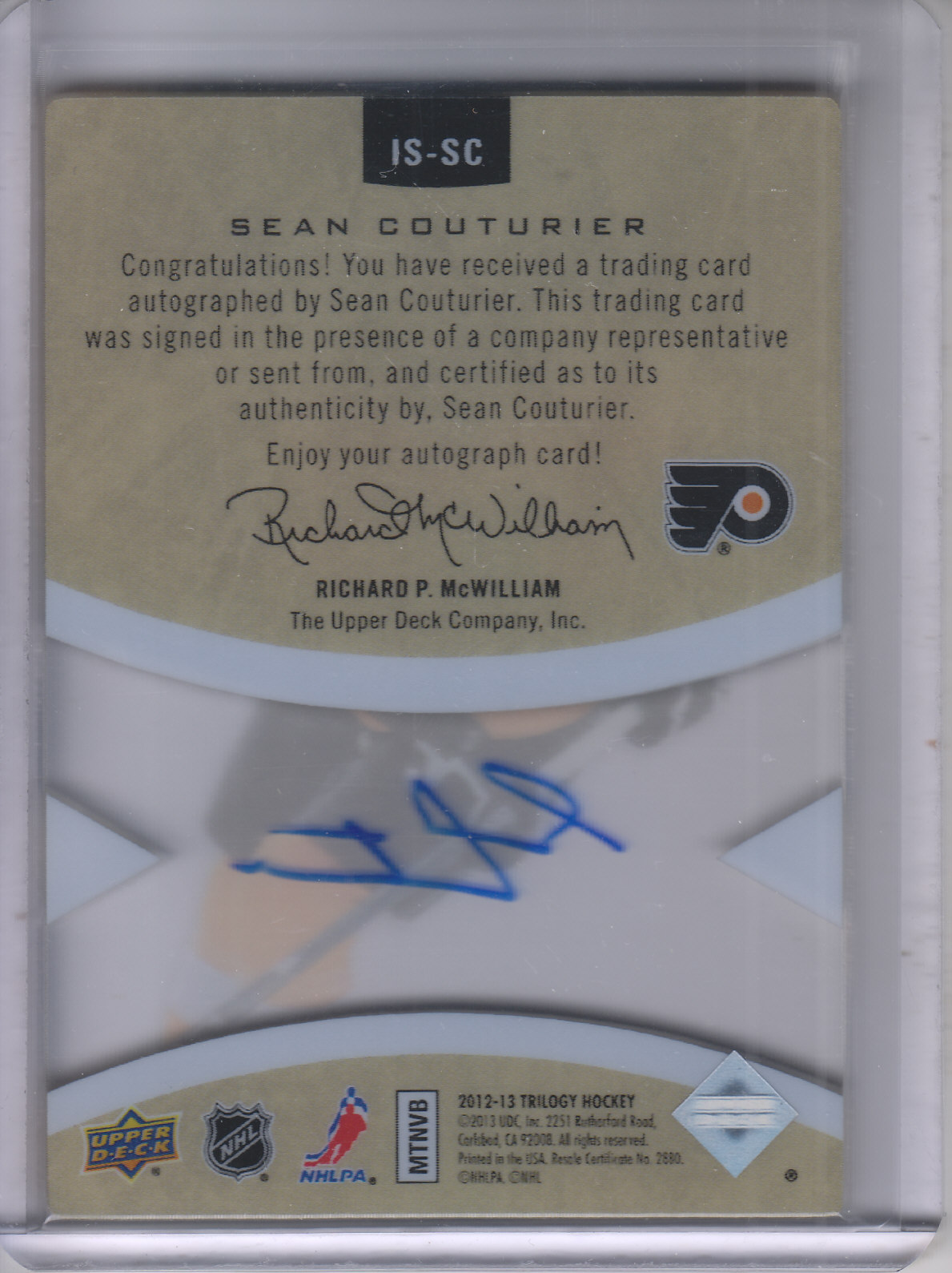 2013-14 Upper Deck Trilogy Ice Scripts #ISSC Sean Couturier D back image