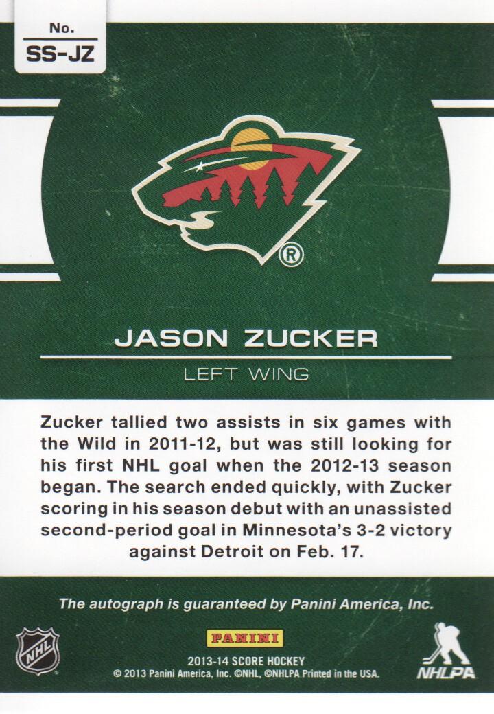 2013-14 Score Signatures #SSJZ Jason Zucker back image