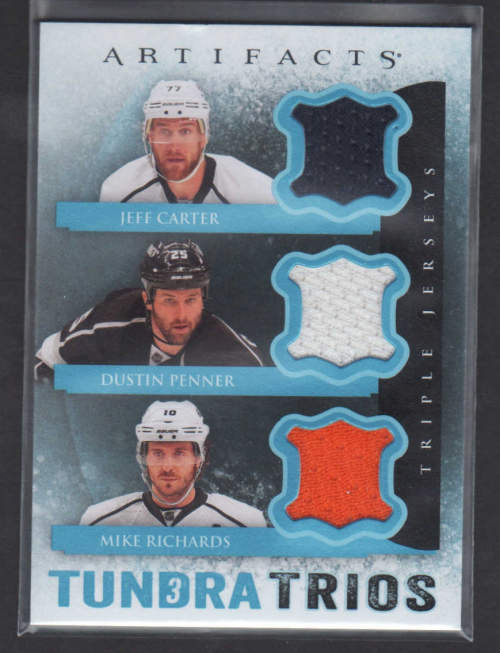 2013-14 Artifacts Tundra Trios Jerseys Blue #T3RCP Jeff Carter/Dustin Penner/Mike Richards D