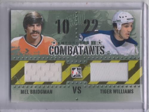 2013-14 ITG Enforcers Combatants Jersey Duals #C37 Mel Bridgman/Tiger Williams