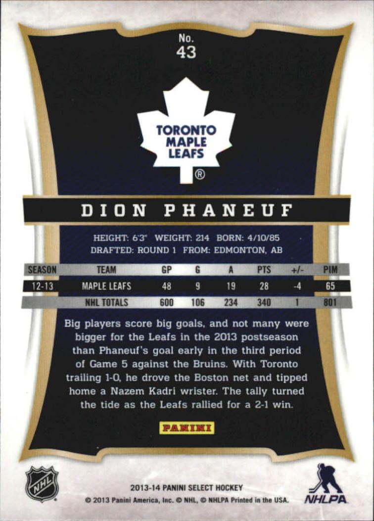 2013-14 Select #43 Dion Phaneuf back image