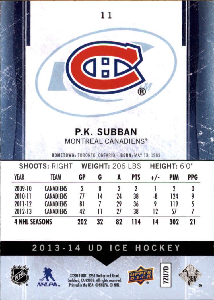 2013-14 Upper Deck Ice #11 P.K. Subban back image