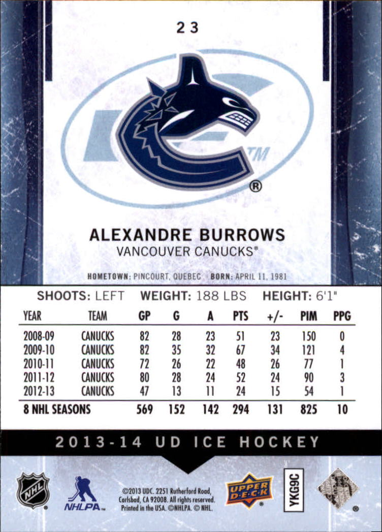 2013-14 Upper Deck Ice #23 Alexandre Burrows back image
