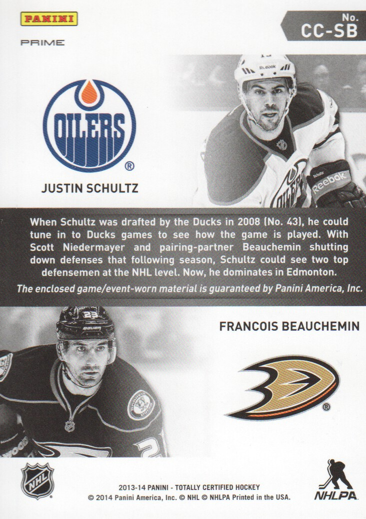 2013-14 Totally Certified Certified Competitors Jerseys Prime Blue #CCSB Justin Schultz/Francois Beauchemin/50 back image