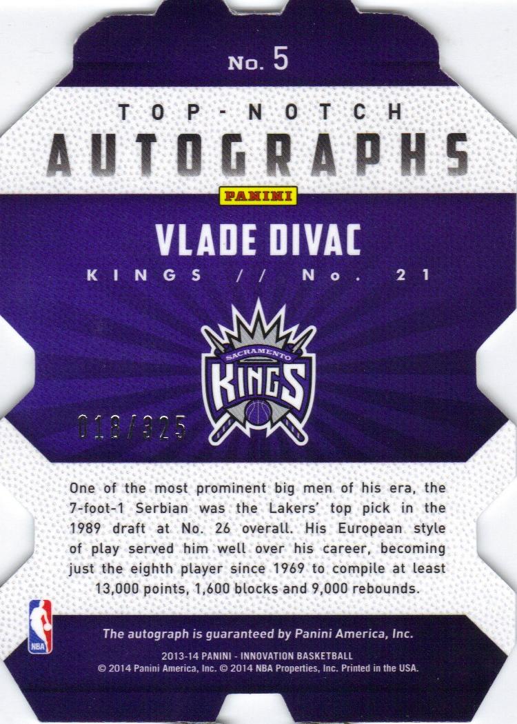 2013-14 Innovation Top Notch Autographs #5 Vlade Divac/325 back image