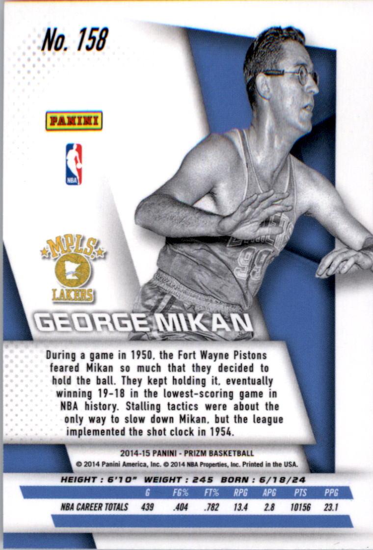 2014-15 Panini Prizm #158 George Mikan back image